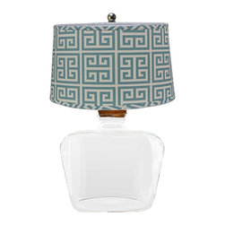 "Lamps Plus - Contemporary Glass Clearview Table Lamp with Greek Key Shade - A beautiful Greek key patterned shade seems to float atop the clear glass jug base of this table lamp. Add this lamp to a casual room for a beautiful lighting option while adding rich color and pattern to the decor. The three-way switch offers lighting options making this table lamp a great choice for any room in the home. Clear glass table lamp. Jug style. 3-way switch. Maximum 100 watt bulb (not included). Cotton Greek key pattern shade. Base measures 11"" wide 15"" deep. Shade measures 11"" wide and 15"" deep across the top 13"" wide and 17"" deep across the bottom 10"" high. 19"" high.  Clear glass table lamp.  Jug style.  3-way switch.  Maximum 100 watt bulb (not included).  Cotton Greek key pattern shade.  Base measures 11"" wide 15"" deep.  Shade measures 11"" wide and 15"" deep across the top 13"" wide and 17"" deep across the bottom 10"" high.  19"" high."