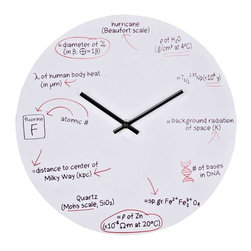 Modway - Science Wall Clock in White - Test your knowledge when telling time. With scientific equations at each number space, this clock makes sure you do not forget all the lessons your science teachers taught you. Each hour represents its own scientific equation: 1 o'clock Physics, 2 o'clock nuclear physics, 3 o'clock astronomy and thermodynamics, 4 o'clock genetics, 5 o'clock geology and chemistry, 6 o'clock physics, 7 o'clock geology, 8 o'clock astronomy, 9 o'clock chemistry, 10 o'clock human anatomy and physics, 11 o'clock astronomy and 12 o'clock meteorology. White powder coated metal background is made to look like a whiteboard with equations written in black and red ink. The perfect gift for your favorite braniac.