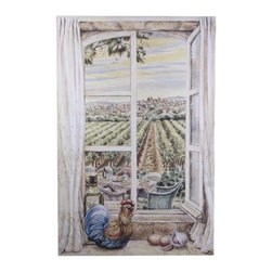"""Stupell Industries - French Country Window Decorative Faux Window Scene - Decorative and functional. Made in USA. Original Stupell art. 33 in. H x 22 in. W. 0.5 in. ThickThe one of kind faux window collection from """"The Stupell Home decor Collection"""" is the perfect accessory for any room. Created by California muralist Louise Cartter, this lithograph is an original piece of artwork inspired by the actual very scene that was painted! Faux window scenes are especially popular for bathrooms and other rooms without a window. The realistic look instantly brightens any room giving it a larger and brighter feel. The lithograph is laminated on sturdy MDF fiberboard; hand finished and comes ready to hang from the saw tooth hanger on its back."""