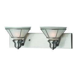 Dolan Designs - Dolan Designs 632-09 Craftsman Satin Nickel 2 Light Vanity - Dolan Designs 632-09 Nickel Bath Lighting