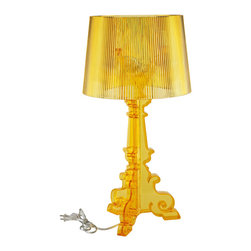 LexMod - Bourgie Style Acrylic Table Lamp in Yellow - Establish a firm foundation and develop leadership potentials with this breathtaking centerpiece. Bourgie's beautifully flocked iridescent light pattern illuminates the value of many-faceted interactions with friends and family. Enjoy splendid abundance as this modern table lamp assumes a position of prominence among your circle of influence.