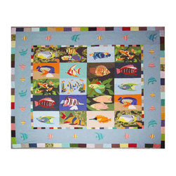 Patch Quilts - Ocean Schools Quilt King 105 x 95 - - Intricately appliqued and beautifully hand quilted.Bedding ensemble from Patch Magic  - The Name for the finest quality quilts and accessories  - Machine washable.Line or Flat dry only Patch Quilts - QKOCSH
