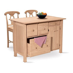 International Concepts - Kitchen Storage Center w Drawers and Cabinet - Four Storage Drawers. 2 Door Cabinet. Counter Overhang. Made of Solid Wood & Plywood. Chair not included. 48 in. W x 32 in. L x 36 in. H (212 lbs.)