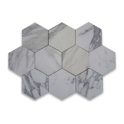 "Stone Center Corp - Calacatta Gold Marble Hexagon Tile 6 inch Honed - Calacatta gold marble 6"" (from point to point) hexagon tile"