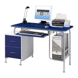 RTA Products - Techni Mobili Modern Steel Computer Desk - Dark Blue & Silver Grey - The Techni Mobili Modern Steel Computer Desk is made of heavy-duty engineered wood panels with a moisture resistant PVC laminate veneer and a scratch-resistant powder-coated steel frame. It features a built-in two drawer utility cabinet, a large slide-out keyboard shelf equipped with a safety stop, and a raised CPU platform. The desktop has an 80 lb weight capacity, the keyboard shelf, cabinet top and CPU platform each have a 30 lb weight capacity, and the drawers can each hold up to 22 lbs.