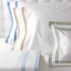 Classic Summer Bed Linens - The classic elegance of the Marlowe Bed Linens derive from the two rows of wide bias tape detailed on this crisp easy-care white bed linens.