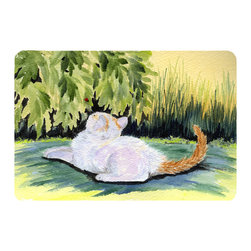 Caroline's Treasures - Cat Kitchen or Bath Mat 24 x 36 - Kitchen or Bath Comfort Floor Mat This mat is 24 inch by 36 inch. Comfort Mat / Carpet / Rug that is Made and Printed in the USA. A foam cushion is attached to the bottom of the mat for comfort when standing. The mat has been permanently dyed for moderate traffic. Durable and fade resistant. The back of the mat is rubber backed to keep the mat from slipping on a smooth floor. Use pressure and water from garden hose or power washer to clean the mat. Vacuuming only with the hard wood floor setting, as to not pull up the knap of the felt. Avoid soap or cleaner that produces suds when cleaning. It will be difficult to get the suds out of the mat.