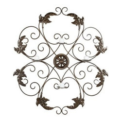 Ivy and Leaf Wrought Iron Medallion Candle Wall Sconce - 32.3H in. - The romantic, swirling design of the Ivy and Leaf Wrought Iron Medallion Candle Wall Sconce – 32.3H in. lends an eye-catching accent to any room in your home. Four shallow glass cups are included in this wall hanging to add a glimmer of light, sure to add ambiance in the evening hours. The wrought iron construction is long lasting and easy to hang.