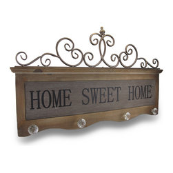 Zeckos - Vintage Look Home Sweet Home Crystal Knob Wall Mounted Coat Rack - This wonderful vintage look Home Sweet Home wall plaque doubles as a 4 position coat rack. Made of recycled wood, it measures 31 1/2 inches long, 18 inches tall, and has metallic bronze finished metal tube scroll accents at the top. 4 clear plastic, 1940's style knobs are added at the bottom, so you can hang coats, scarves and hats. It looks great in entranceways, foyers and mud rooms, and makes a great gift.