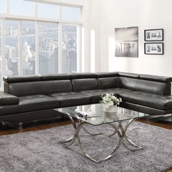 Coaster - Piper Sectional, Charcoal - Create the sleek and modern look you have been looking for with our Piper sectional. Featuring a Bonded Leather Match in chocolate or charcoal with contemporary-styled steel legs, this collection is sure to impress your guests as well as leave them comfortable. Our Piper sectional is also ready to accommodate any size living room - just add an armless chair to create more seating. Each piece also features an adjustable headrest that provides more support and can add up to four inches to the back height.