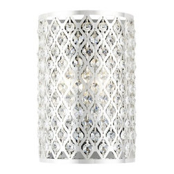Ashford Classics Lighting - Modern Crystal Wall Sconce with Two Lights - 2248 - Crystal wall sconce in a chrome finish with a crystal adorned metal shade. Takes (2) 40-watt incandescent flame bulb(s). Bulb(s) sold separately. UL listed. Dry location rated.