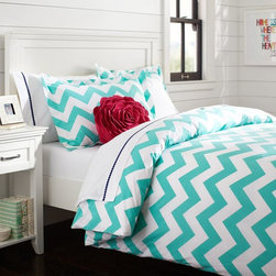 Chevron Duvet Cover, Pool - This pattern is sure to wake you up in the morning for an 8 a.m. class, and it will perfectly complement an all-white decor scheme. Plus, what's more chic than chevron?