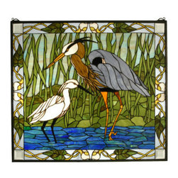 "Meyda Tiffany - Meyda Tiffany 62955 30"" W X 27"" H Blue Heron & Snowy Egret Stained Glass Window - Beautiful and lovely, the 30"" Width X 27"" Height Blue Heron & Snowy Egret Stained Glass Window by Meyda Tiffany is a perfect choice to augment your design. Show off your personality with this marvelous tiffany window. Features:"