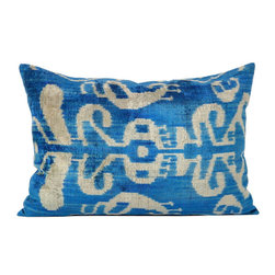 Metrohouse Designs - Blue Silk Velvet Tribal Ikat Pillow - Ikat Silk Velvet Accent Pillow