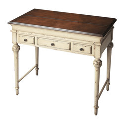 Butler Furniture - Laptop Desk - Hand painted finish on poplar hardwood solids and wood products. Cherry veneer top and drawer fronts. As hinged top opens, work/writing surface extends forward. Three drawers with antique brass finished hardware. Includes a built-in power strip.