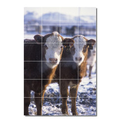 Picture-Tiles, LLC - Farm Animals Photo Wall Tile Mural 30 - * MURAL SIZE: 48x32 inch tile mural using (24) 8x8 ceramic tiles-satin finish.