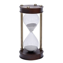 Benzara - Wood Metal Glass Sand Timer Beautifully Designed - If you are looking for low cost but rare to find elsewhere decor item to bring extra galore that could refresh the decor appeal of short spaces on tables or shelves, beautifully carved 58199 WOOD METAL GLASS SAND TIMER may be a good choice.