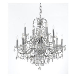 Crystorama Lighting Group - Imperial 12 Light Crystal Chrome Chandelier - Add the final touch to any room with this gorgeous Crystorama chandelier featured in a Polished Chrome finish and is adorned with hand cut crystals!