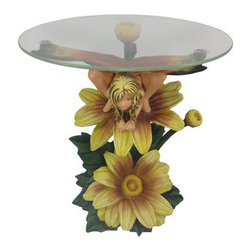 Butterfly Flower Fairy 23 In Round Glass Top End Table - This hand-painted whimsical table would be perfect in a child's room or a small corner of your living room. The butterfly-winged fairy sits atop the pretty yellow daisy and is a piece of art in addition to a handy table.