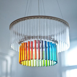 Maria S.C. Double Test Tubes Chandelier by Pani Jurek - A quirkier piece is this test tube chandelier. Fill the tubes with colors of your own choice to create a rainbow or ombré effect.