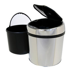 iTouchless - iTouchless 1.5 Gallon Round Stainless Steel Automatic Sensor Touchless Trash Can - Keep germs from spreading with the TX 6 automatic trash can from iTouchless. This trash container automatically opens with the wave of a hand.
