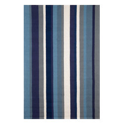 "Trans-Ocean - Vertical Strp Marine 7'6"" x 9'6"" Indoor/Outdoor Rug - Simple yet fashionable pattern lends itself well to the loosely tufted construction, while sophistication is achieved though intricately blended colors. Ideal for Indoor or Outdoor, these hand-hooked synthetic rugs are easy to clean and UV stabilized. The synthetic material and loop construction makes these rugs soft underfoot, yet durable enough for any high traffic area of your home.Primary color: Navy"