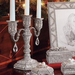 Frontgate - Crystallized Three-Arm Candelabra - Christmas Decorations - Handmade by Isabella Adams. Stunning Swarovski® crystal encrusted. Presented in a lovely gift box. Rhodium-plated base. Masterfully crafted in the USA for Frontgate, the Isabella Adams Three-arm Candelabrum glitters top to bottom with hundreds of hand-set Swarovski crystals that reflect the energetic sparkle of the season.  . Stunning Swarovski crystal encrusted .  .  . Made in the USA.