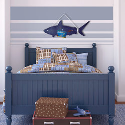 Kids Collection - The Shark magnetic board is a great addition to any kids room. Made of steel and coated with a few coats of oil paint. Lightly sanded to give it a smooth and vintage look. Ready to hang. Comes with two shark magnets. Additional magnets can be purchased separately on this website.