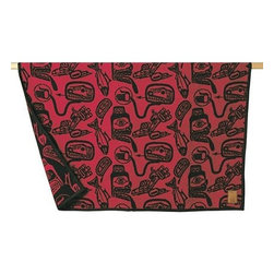"""Kanata Blanket Co. - Wool Blanket James Hart Haida Dreamtime - Dreamtime"""" by James Hart shows classic Haida images in bold red and black colors. Created in collaboration with the Canadian Museum of Civilization in Hull. Kanata endeavors to capture both traditional and contemporary designs with our licensing programs that give back to the artist the organization and the community. Kanata has been licenced to reproduce this blanket as an Italian jacquard wool blanket enabling the richness of color and design. This blanket is bordered with a double stitched hand-sewn complementary felt edging and then hand trimmed for the ultimate finished look. Made in Canada from Italian wool. About the artist: James Hart is a renowned Haida artist born in Masset in the Queen Charlotte Islands. Mr Hart is widely recognized for reinventing traditional Haida art with a contemporary abstracted style that has become his trademark. Packaging options shown - please refer to packaging details for what fits each size.Care Instructions: Dry cleaning recommended. Can be hand washed in cold and hang to dry. Do not bleach.Embroidery friendly"""""""