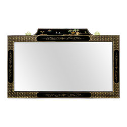 China Furniture and Arts - Black Lacquer Mirror w/ Chinoiserie Scenery Motif - Grand in size with an intricately hand painted frame, the top panel of this mirror features idyllic Chinoiserie scenery. The entire frame is finished in black lacquer, giving it a shiny and polished look. The mirror itself is beveled and brass hangers are mounted on the back of the frame for easy hanging.