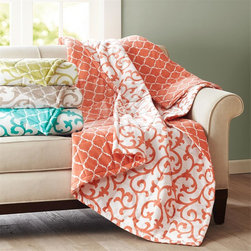 """Intelligent Design - Intelligent Design Floral Scroll Printed Mink Down Alt Throw - Add fresh color and fun pattern to any room with the Floral Scroll printed mink down alternative throw. The 50""""x70"""" is filled with down alternative to provide extra comfort and warmth. The white floral scroll pattern is printed on a tangerine orange super soft mink fabric and reverses to a tangerine orange ogee pattern on a white ground. This throw is the perfect solution for cuddling on the couch or lounging around. 100% polyester 180gsm Printed mink face and back, 3D light bonded fill, sewn thru box"""