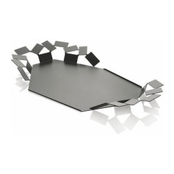 "Alessi - Alessi ""La Stanza Dello Scirocco"" Tray, Black - La Stanza dello Scirocco is a tray derived from the composition of a rectangular module in stainless steel."