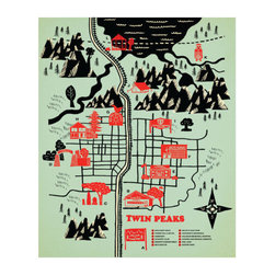 """Robert Farkas - Robert Farkas """"Twin Peaks"""" - Check out this throwback masterpiece map of Twin Peaks. Come one come all, lovers of the 1990 serial drama. You can now have this work in the form of a removable and reusable wall decal."""