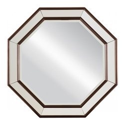 """Stanley Furniture - Stanley Furniture Hudson Street Octagonal Mirror - A geometric motif creates compelling style on the Stanley Furniture Hudson Street mirror. Dark espresso wood forms an octagonal frame around the wall accessory's glamorous beveled plate glass. 30.125""""W x 30.125""""H. Hanging wire not included."""
