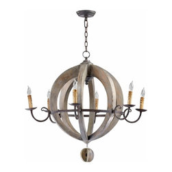 "Stained Wood and Wrought Barrel Chandelier 32"" - *Barrel Chandelier"