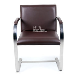 IFN Modern - Cantilever Chair-Chocolate - 100% Italian Leather - This chair inspired by a design from the 1930's city of Brno has been reproduced with touches of a modern flair. Perfect for office seating, especially receptions, this chair is a must for contemporary office decor. â— Product is available in 100% Full Grain Italian Leather or 100% Full Grain Aniline Leatherâ— This product DOES NOT use vinyl, PU or man-made forms of leather on ANY parts of the chair cushions.â— Frame is constructed of Solid Stainless Steel.â— Ergonomic Designâ— High Density Foam also fire-resistantâ— Leather Armrest Pads (hidden screws for cleaner look)
