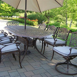 Oakland Living - Mississippi 9-Pc Oval Outdoor Dining Set - Includes one table, six dining chairs with cushions, two swivel chairs with cushions, umbrella and umbrella stand. Fade, chip and crack resistant. Traditional lattice pattern and scroll work. Brass hardware. Warranty: One year limited. Made from rust free cast aluminum. Hardened powder coat finish in antique bronze. Minimal assembly required. Table: 84 in. L x 42 in. W x 29 in. H. Dining chair: 23 in. W x 22 in. D x 35.5 in. H (23 lbs.). Swivel chair: 23 in. W x 17.5 in. D x 38 in. H (66 lbs.). Umbrella: 108 in. L x 108 in. W x 100 in. H (45 lbs.)This dining set is the prefect piece for any outdoor dinner setting. Just the right size for any backyard or patio. The Oakland Mississippi Collection combines southern style and modern designs giving you a rich addition to any outdoor setting.