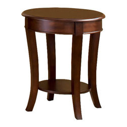 Steve Silver Furniture - Steve Silver Troy End Table - Troy end table belongs to Troy collection by Steve Silver the Troy end table is simple elegance. Its oval shape and open shelves create the appearance of a larger space. Elegant pastoral comfort exudes from this finely-crafted cocktail table.