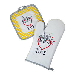 Provence Imports - Paris Bistro Cotton Oven Mitt and Pot Holder Set - Yellow - This fun oven mitt and pot holder set includes the main monuments of Paris: the Arc de Triomphe, Sacré Coeur, Notre Dame and -- of course -- the Eiffel tower! Red hearts illustrate your feelings about the City of Lights. Printed in vibrant colors on soft cotton with a heat-resistant backing, this set is ready for work.