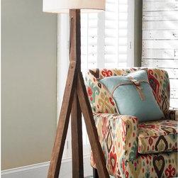 Three Legged Rustic Elm Floor Lamp -