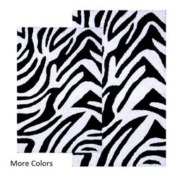 INSTEN - Safari Cotton Collection 2-piece Bath Rug Set - Bring safari style to your bathroom with these machine-washable cotton bath rugs. The zebra print is available with black or chocolate stripes to coordinate with your decor. The set includes two mats, so you can get creative with placement.