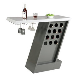 Chintaly Greenwich Modern Home Bar - Gray - Sleek, modern, and practical, the Chintaly Greenwich Modern Home Bar - Gray lets you store, sip, and serve in style. This home bar is made of wood and features a 7 shape with a spacious, light gray counter and handy stemware holder underneath. The dark gray base features 12 built-in wine bottle holders.About Chintaly ImportsBased in Farmingdale, New York, Chintaly Imports has been supplying the furniture industry with quality products since 1997. From its humble beginning with a small assortment of casual dining tables and stools, Chintaly Imports has grown to become a full-range supplier of curios, computer desks, accent pieces, occasional table, barstools, pub sets, upholstery groups and bedroom sets. This assortment of products includes many high-styled contemporary and traditionally-styled items. Chintaly Imports takes pride in the fact that many of its products offer the innovative look, style, and quality which are offered with other suppliers at much higher prices. Currently, Chintaly Imports products appeal to a broad customer base which encompasses many single store operations along with numerous top 100 dealers. Chintaly Imports showrooms are located in High Point, North Carolina and Las Vegas, Nevada.