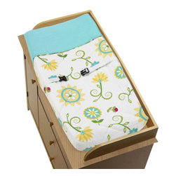 Sweet Jojo Designs - Layla Changing Pad Cover by Sweet Jojo Designs - The Layla Changing Pad Cover by Sweet Jojo Designs, along with the bedding accessories.