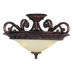 Maxim Lighting - Maxim Lighting Symphony Semi-Flush Mount Ceiling Fixture in Oil Rubbed Bronze - Shown in picture: In either Screen Amber or Soft Vanilla Glass - the sharp angles of the Oil Rubbed Bronze body modernizes and inspires.