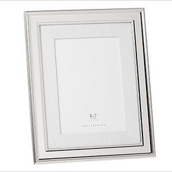 """Silver-Plated White Grosgrain Mat Frame, 5 x 7"""" with Optional Vertical Personali - These elegant frames get their classic style from a border of silver-plated steel, a white grosgrain ribbon archival mat and black velvet backing. 7.5"""" wide x 9.5"""" high; holds a 4 x 6"""" photo 8.5"""" wide x 10.5"""" high; holds a 5 x 7"""" photo 1.5"""" wide x 13.5"""" high; holds a 8 x 10"""" photo Frame is made of steel with a silver-plated finish. White grosgrain ribbon archival mat. Monogramming is available at an additional charge. Can be monogrammed with initials or up to 20 characters centered above and below the photo opening. Catalog / Internet only."""