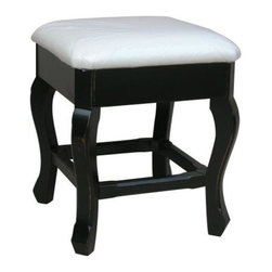 EuroLux Home - New Stool Black Painted Hardwood Backless - Product Details