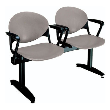 KFI Seating - Freestanding Beam Seating w 2 Seats & Backs ( - Color: Navy Blue2-Seat beam with arms. Made of 15 gauge steel sandtex frame, powder-coated in black. High impact polypropylene seat and back. Injection aluminum alloy back supports. Free standing with adjustable glides. Great for waiting rooms and common areas. Pictured in Cool Grey. 47 in. W x 22 in. D x 31 in. H