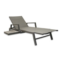 Patio Heaven - Patio Heaven Riviera Chaise Lounger - JRX2291-1B-G - Shop for Chaise Lounges from Hayneedle.com! It would take a tanker-truck of skincare products and a lot of finger crossing to compete with Patio Heaven Riviera Lounge Chair's ability to look great after years in the sun. The secret ingredient here is quick-drying Textilene which breathes resists rot and mildew and keeps its color despite constant UV onslaught. A shapely frame of powder-coated aluminum will keep its good looks for the long haul. A built-in sliding side table of easy-to-care-for polywood stands by to hold your choice of beverage lotion and reading material.About Patio HeavenWith over 40 years of experience in working with top manufacturers and designers Patio Heaven brings you signature collections with both classic and modern design elements. Drawing inspiration from the ocean to the mountains and everywhere in between Patio Heaven lets you bring your sense of style to your outdoor living space. Their furniture looks great in any season and any region. With furniture from Patio Heaven you don't just pick out patio furniture - you choose a lifestyle.