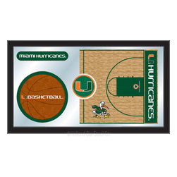 "Holland Bar Stool - Holland Bar Stool Miami (FL) Basketball Mirror - Miami (FL) Basketball Mirror belongs to College Collection by Holland Bar Stool The perfect way to show your school pride, our basketball Mirror displays your school's symbols with a style that fits any setting.  With it's simple but elegant design, colors burst through the 1/8"" thick glass and are highlighted by the mirrored accents.  Framed with a black, 1 1/4 wrapped wood frame with saw tooth hangers, this 15""(H) x 26""(W) mirror is ideal for your office, garage, or any room of the house.  Whether purchasing as a gift for a recent grad, sports superfan, or for yourself, you can take satisfaction knowing you're buying a mirror that is proudly Made in the USA by Holland Bar Stool Company, Holland, MI.   Mirror (1)"