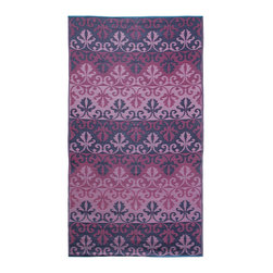 KOKO - Sari Border Floormat - 5' x 9' - Ruby - Getting your daily dose of pretty has never been this easy. The grid pattern on this easy-care mat recalls something you might see on a graceful, flowing sari.